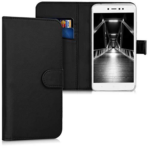 kwmobile Funda para Xiaomi Redmi Note 5A (4G) - Carcasa de Cuero sintético - Case con Tapa y Tarjetero en Negro