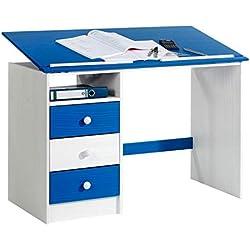 IDIMEX Bureau Enfant écolier Junior Kevin pupitre inclinable avec 3 tiroirs 1 casier en pin Massif lasuré Blanc et Bleu