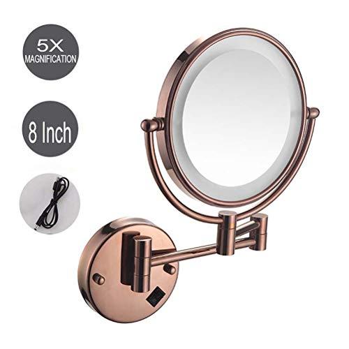 ZHAONI Oro Rosa LED Espejos De 5X Aumento para Bano Espejos Maquillaje Pared, Doble Cara Giratoria De...