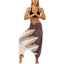 Pantalones Harem paracaidistas - Thai Cargo Boho Pantalones Hippie Baggy Yoga Globo Loose Gypsy Aladdin Bloomer Pantalones Ropa para Hombres Mujeres