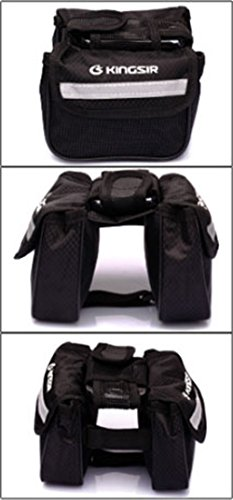 FakeFace 420D Nylon 3-Fach Oberrohrtasche mit Netz Handyfach Satteltasche Gepäckträgertasche für Fahrrad Mountainbike Radsport 15 x 14 x 12 (Schwarz) Schwarz 1