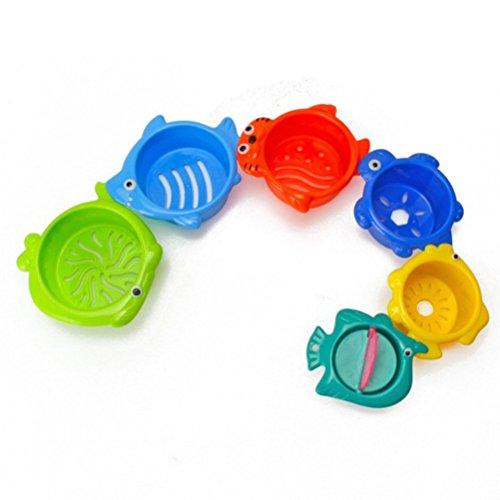 TOYMYTOY Badespielzeug Stapelbecher Meerestiere Form Schwimmende Wasserspritzte für Wasserspiel Badespaßzeit Strandspielzeug 6 Stück