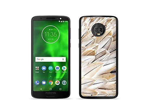 etuo Motorola Moto G6 - Hülle Foto Case - Weiße Feder - Handyhülle Schutzhülle Etui Case Cover Tasche für Handy