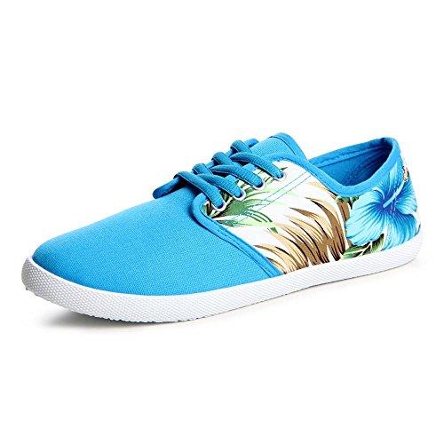 topschuhe24 729 Damen Sneaker Turnschuhe Blumenprint Blau