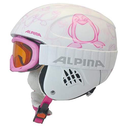 ALPINA Kinder Skihelm Carat mit Skibrille Ruby S SH Set Weiss (100) XS