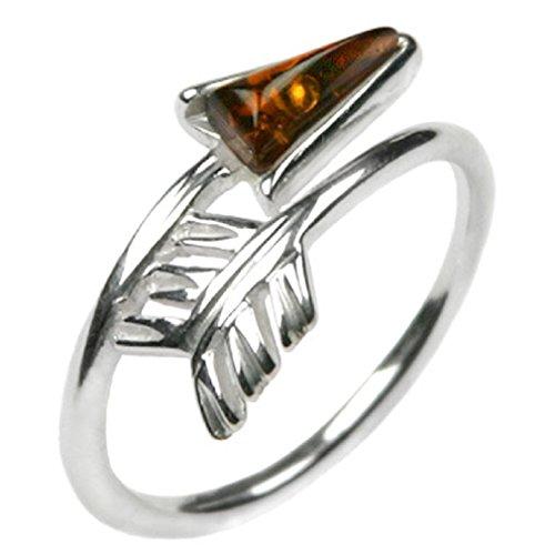 Noda - Anello con Elemento a Forma di Freccia in Ambra Color Miele e Argento Sterling, Colore: Arancione, cod. 23966