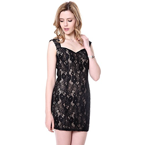 JNTworld Dames Sexy Black Lace Manches Backless Imprimé Floral Normal Robe Noir