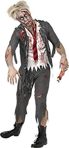 Smiffys Déguisement Homme, Lycéen zombie du lycée de l'horreur, avec veste, chemise attachée, Taille M, Couleur: Gris,
