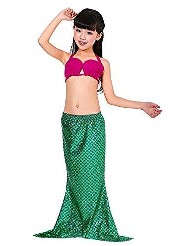 Inception Pro Infinite Größe 100-3-4 Jahre - Badeanzüge - Kleine Meerjungfrau - Geführt für Mädchen - Grüne Farbe - Bestehend aus Shorts und offenem ()