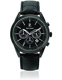 Pierre Lannier 272C433-Elegance-Chrono-Reloj de pulsera con cronógrafo para hombre, color negro, cuarzo, analógico, correa de cuero, color negro