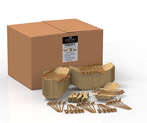 Bambusschalen-Set, mit Einweg-Besteck/Cocktailspieß, elegantes Gefäß für Party-Häppchen/Snacks/Knabbereien/Sushi/Vorspeisen/Fingerfood, 50große Schalen, Besteck aus Holz (Einweg-besteck Elegant)