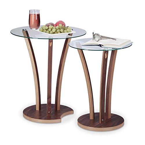 Relaxdays 10021247 Table d'appoint Ronde Lot de 2 Plateau en Verre et Pieds en Bois Design Moderne 2 Tailles, Nature