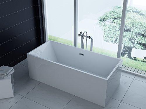 Luxus freistehende Badewanne 180x80 + Acrylwanne inkl. Ablauf und Überlauf (Whirlpool, Dusche, Badezimmer) - SONDERAKTION !