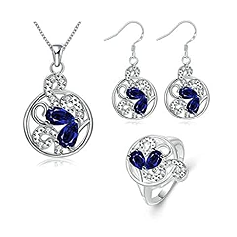 AmDxD Jewelry Gold Plated Women Jewelry Sets Round Hollow Heart Blue CZ Necklace Earring Rings Size P 1/2
