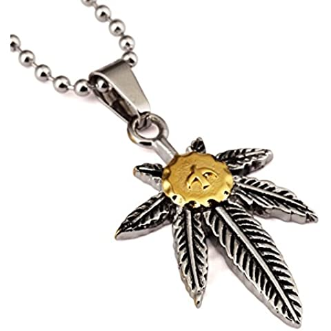 Nyuk para hombre Japón Weed Leaf piezas titanio acero cadena Retro Hip Hop colgante collar