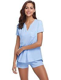 Hawiton Pijamas Mujer Verano Manga Corta Conjunto de Pijama para Mujer 2 Piezas de Ropa de