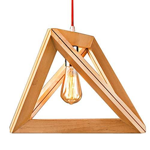 Holz Pendelleuchte, Loft LED Kronleuchter Holz geometrische Tisch hängen Lampe (Size : 37 * 32CM) -
