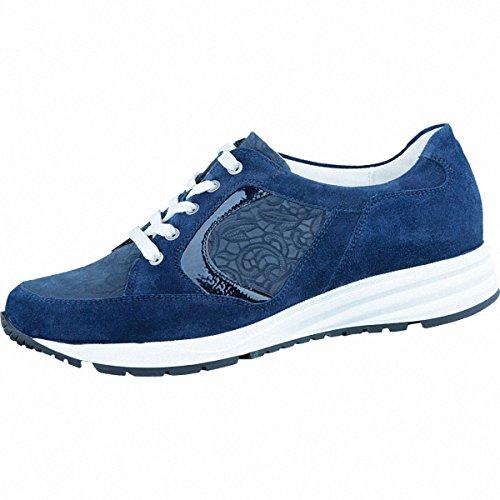 Waldläufer Kimari 15 sportlicher Damen Leder Sneaker deepblue, Waldläufer Leder Fußbett, Extrem Weite K, 1336127/4.5 Blau
