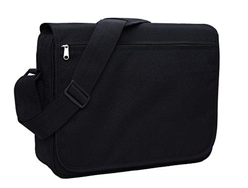 MIER 15.6 Inch Shoulder Satchel Bag Laptop Messenger Bag Briefcase with Multiple Pocket for Work, School and Weekend (Black) Nero