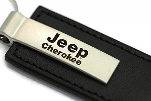 Jeep Cherokee Leather Key Chain Black Rectangular Key Ring Fob Lanyard by