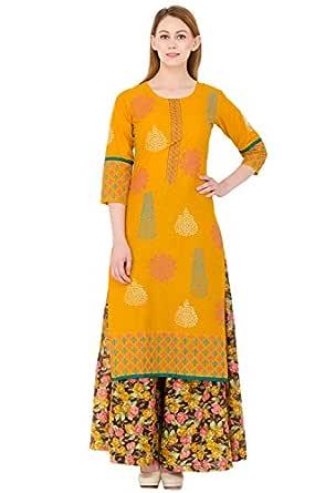 Zoeyams Women's Mustured Cotton printed Long Straight kurti