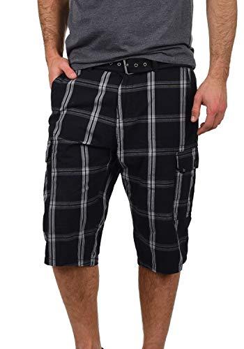 Blend Hannes Herren Cargo Capri Shorts Bermuda Kurze Hose Mit Gürtel Aus 100% Baumwolle Regular Fit, Größe:XL, Farbe:Black (70155) -