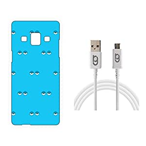 Designer Hard Back Case for Samsung Galaxy A3 with 1.5m Micro USB Cable