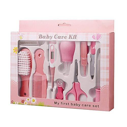 PEPECARE Baby Grooming Kit 10pcs Recién nacido Cuidado de la salud del cuarto de niños Conjunto de uñas de bebé Clipper tijera pinza tijera Termómetro Cepillo (rosa)