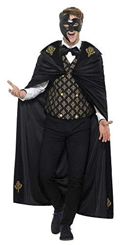 Karneval Kostüm Venedig Muster - shoperama Venezianisches Phantom Herren Kostüm Schwarz/Gold Karneval in Venedig Maskenball, Größe:M
