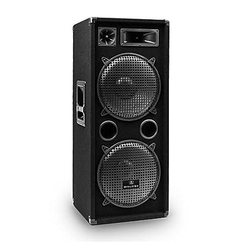 Auna PW-2222 passiv PA Lautsprecher Box 3-Wege (2x 30 cm (12 Zoll) Subwoofer, SpeakOn Ein/Ausgang, 500 Watt RMS)