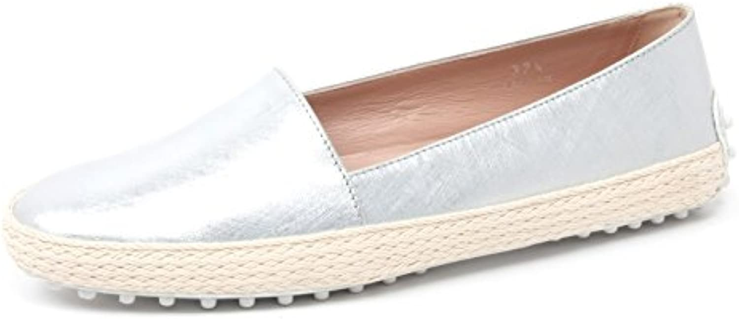 B4412 mocassino donna TOD'S scarpa pantofola argento loafer shoe woman
