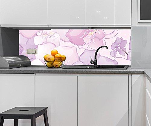 Wandmotiv24 Pared Trasera Cocina Elegante Motivo Floral