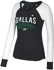 "Dallas Stars Women's Adidas NHL ""Puck Drop"" Dual Blend Long Sleeve T-Shirt Chemise"