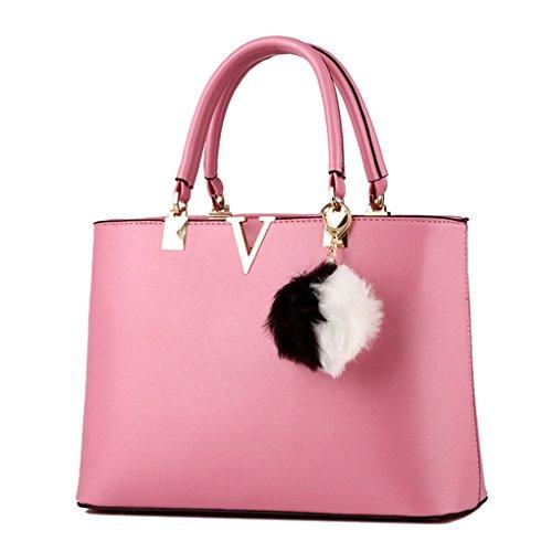 LaoZan Donne Pure Colour Grande Capacità Borsa A Tracolla Con Gli Accessori Rosso Pink