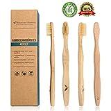 4x vegane Bambus-Zahnbürsten Holz-Zahnbürste Naturborsten | Umweltfreundliche plastikfreie Verpackung | biologisch abbaubares Bambus-Holz | + BONUS