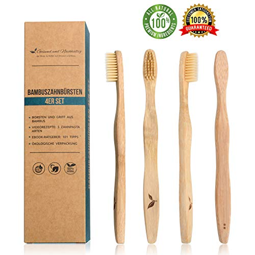 4x Bambus-Zahnbürsten Holz-Zahnbürste Naturborsten vegan ⭐ + BONUS ⭐ Umweltfreundliche plastikfreie Verpackung ⭐ biologisch abbaubares Bambus-Holz