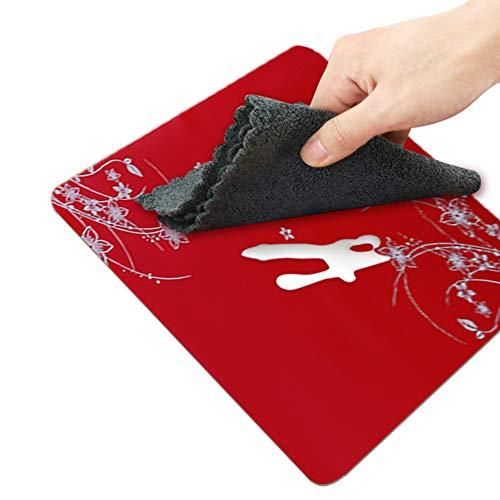 Lot de 4sets de table Sets de table Tapis en silicone Dessous de plat Cuisine antidérapant Vaisselle Verres 40* 30* 0,08cm Rot