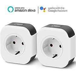 Prise Connectée, 2000W 10A Prise Intelligente WiFi USB Port Compatible Contrôle Vocale Timer avec Amazon Alexa (Echo et Echo Dot) Google Home IFTTT Prise Interrupteur programmable Télécommande App
