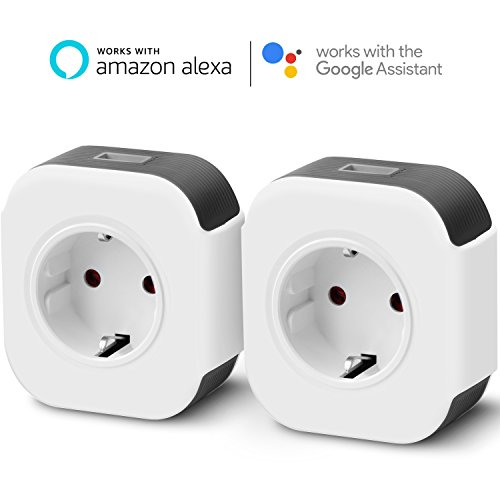 Wi-Fi Smart Steckdose Intelligente Funksteckdose kompatibel mit Amazon Alexa Google Home IFTTT, App Steuerung von IOS und Android, mit USB Port Timer-Funktion Unterstützt 2.4GHz Netzwerk, 10A-2000W 2 Pack