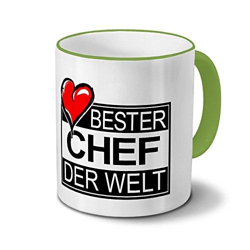 Tasse mit Namen Bester Chef der Welt - Motiv Textart-Layout 4 - Namenstasse, Kaffeebecher, Mug, Becher, Kaffeetasse - Farbe Grün