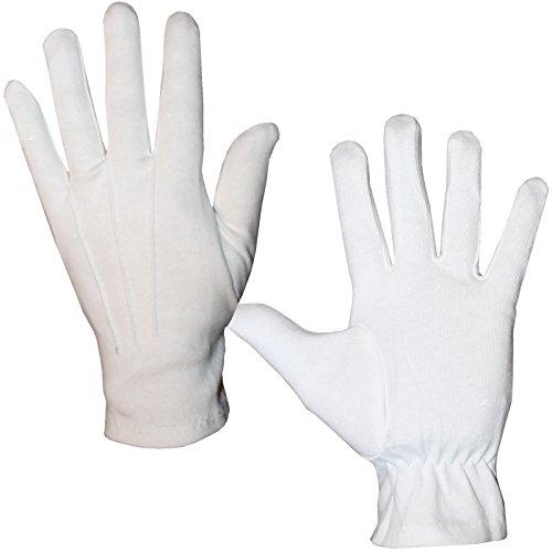 Elegante weiße Handschuhe Gr. L - XXL Fingerhandschuhe Herren für Hochzeit Kostüme (L)