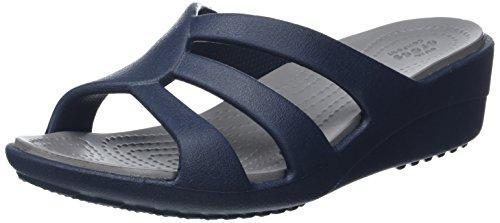 crocs Damen Snrhstrappywdg Offene Sandalen mit Keilabsatz Blau (Navy/Smoke)