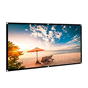 HiCool 100 Inch Projector Screen Foldable 16:9 HD 4K Polyester Projection Screen for Home Theater Cinema Pure White Indoor/Outdoor Front and Rear Projection