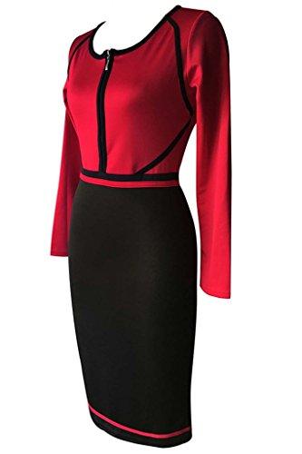 Minetom Femmes Automne Hiver Épissure Zipper Manche Longue Taille Haute Robe Pencil Bodycon Party Cocktail Dress Rouge