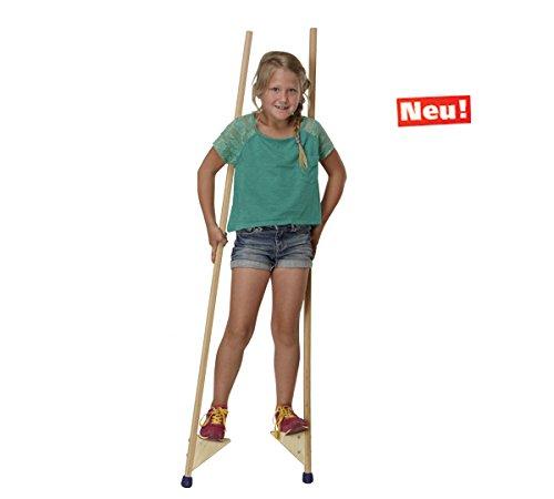 pedalo Stelzen 150 cm I 90 kg belastbar I Profi-Stelze I Antirutsch Holzstelzen I Kinder bis Erwachsene