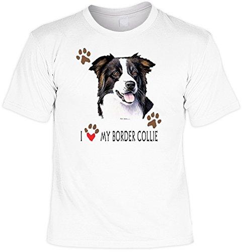 T-Shirt cooles Fun Shirt weiss für Hundefreunde Motiv Border Collie, ideales Geschenk, für Herren Frauen Weiß