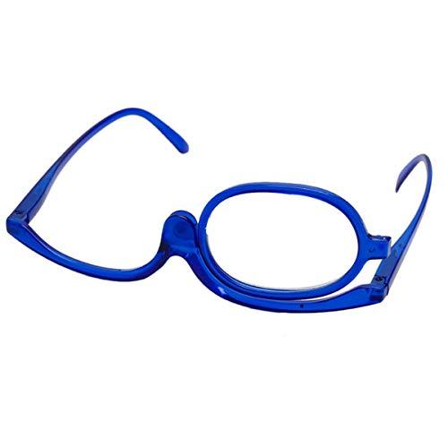 Queenbox® +1.5-4.0 Mode-Make-up-Leser Monokulare kosmetische Gläser Vergrößerungs-Makeup-Gläser Augen Makeup Flip-Down-Brille- Blau +4.0 -