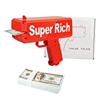 ValueTalks Money Gun Cash Gun Cash Cannon Shoot Gun for Party Red