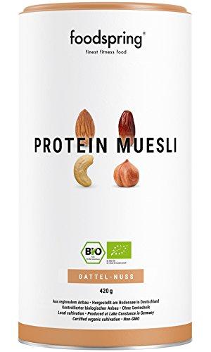 foodspring Bio Protein Müsli, Dattel-Nuss, 420g, 3,5x mehr Protein als normales Müsli, Hergestellt in Deutschland mit Bio-Qualität vom Bodensee -