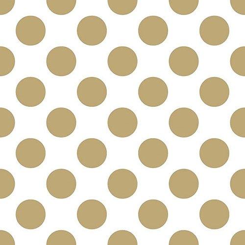 Ambiente - Pack de 20 servilletas de Papel de 3 Capas, tamaño del Almuerzo, 33 x 33 cm, diseño de Lunares, Color Dorado